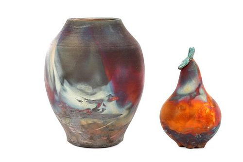 2 Pieces Raku Fired Flash Pottery, John Wrenn
