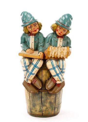 Carved Wood Carnival Prop, Two Jesters on Barrel