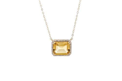 14k Yellow Gold and Honey Quartz Pendant Necklace