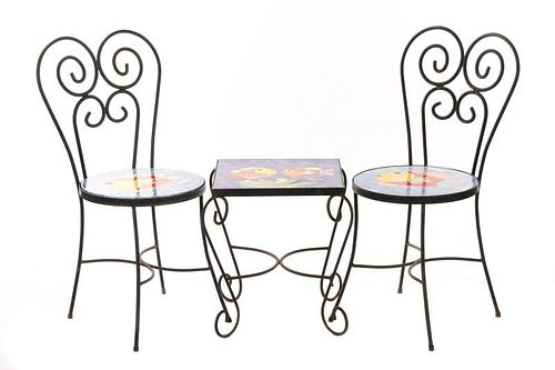 Nino Parucca Hand Painted Terracotta Bistro Set