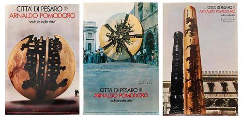 3 Arnaldo Pomodoro 1971 Signed Exhibition Posters