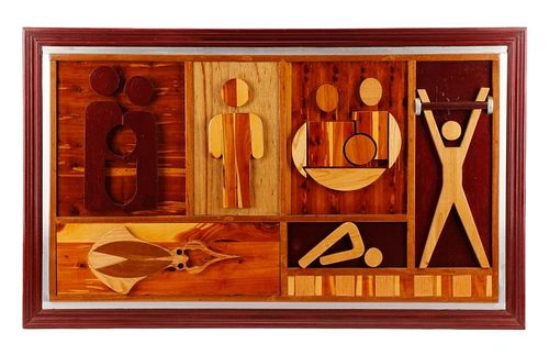 """Carved Wood Relief Panel, """"Untitled (Olympian)"""""""