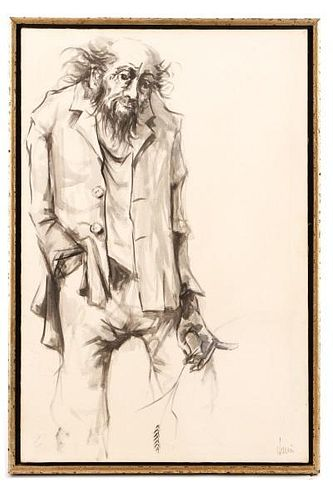 """American School, """"Untitled (Wild-Haired Man)"""", Ink"""