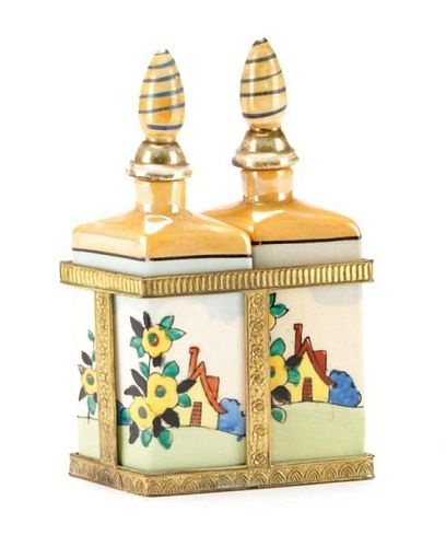 Pair of Lusterware Perfume Scent Bottle in Stand