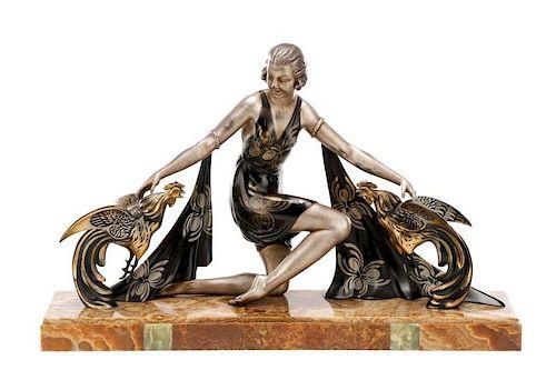 """G. Arisse, """"Femme Avec Coqs"""", Art Deco Sculpture"""
