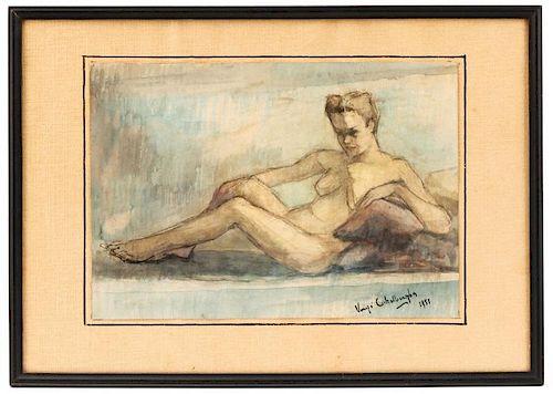 Virgi Cokelberghs, Reclining Nude Female Painting