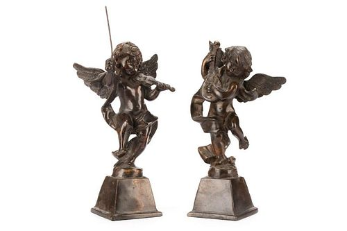 Pair Bronze Putti with Instruments, Style of Tacca
