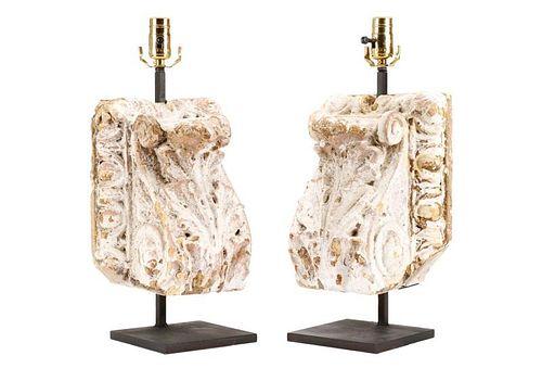 Pair of Cast Plaster Neoclassical Corbel Lamps