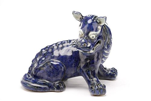 Chinese Cobalt Glazed Pottery Chimera, Xuande Mark