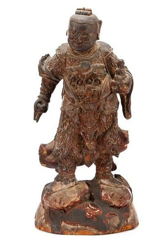 19th C. Chinese Carved Wood Figure of a Guardian