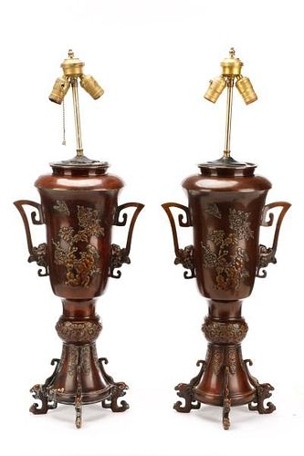 Pair, Chinese Bronze Finish Table Lamps w/ Birds