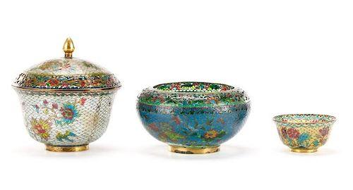 Three Pieces of Japanese Plique-à-jour