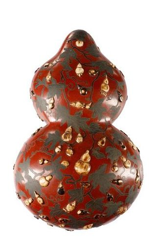 Chinese Lacquered Gourd Form Box w/Bone Inlay