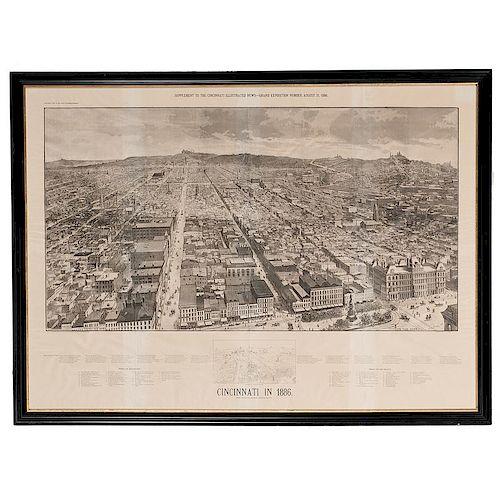 Rare 1886 Bird's-Eye View of Cincinnati by Charles Fries