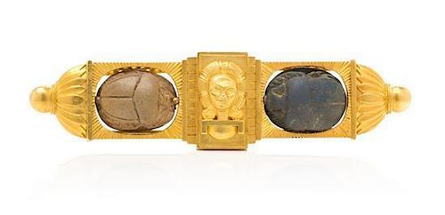 A Yellow Gold Egyptian Revival Brooch, 16.60 dwts.