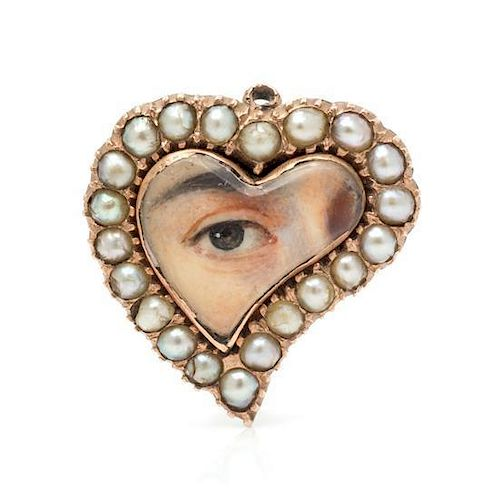 A Georgian Rose Gold and Seed Pearl Lover's Eye Brooch, 2.70 dwts.
