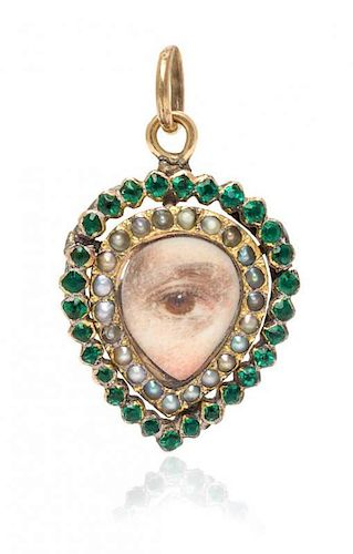 A Georgian Glass and Seed Pearl Lover's Eye Pendant, 1.70 dwts.