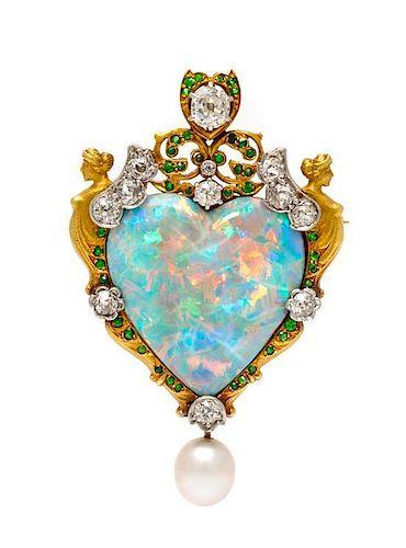 An Important Renaissance Revival Gold, Platinum, Opal and Multigem Pendant/Brooch, Paulding Farnham for Tiffany & Co., 15.80