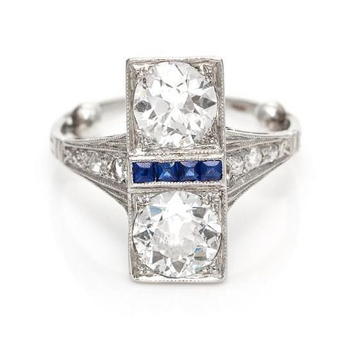 An Art Deco Platinum, Diamond and Sapphire Ring, 2.00 dwts.