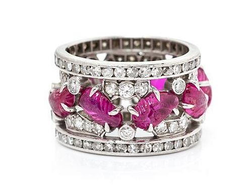An Art Deco Platinum, Ruby and Diamond Ring, 5.40 dwts.