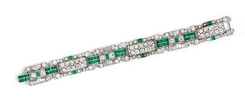 An Art Deco Platinum, Diamond and Emerald Bracelet, 31.90 dwts.