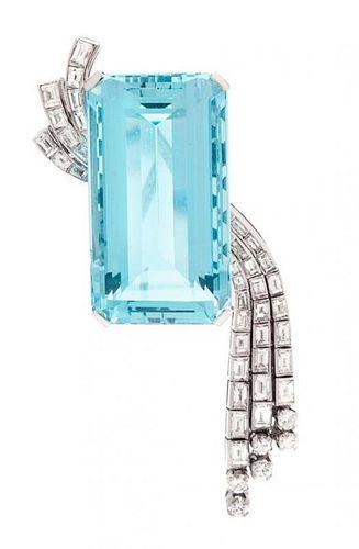 * A Platinum, Diamond and Aquamarine Brooch, Circa 1950, 23.85 dwts.
