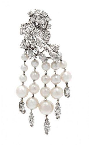 A Platinum, Diamond and Cultured Pearl Tassel Brooch, 13.60 dwts.