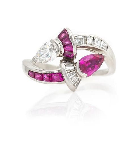 A Platinum, Diamond and Ruby Bypass Ring, 4.10 dwts.