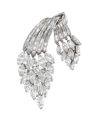 A Platinum and Diamond Articulated Convertible Pendant/Brooch, 21.00 dwts.