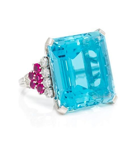 A Platinum, Aquamarine, Diamond and Ruby Ring, Tiffany & Co., 12.50 dwts.