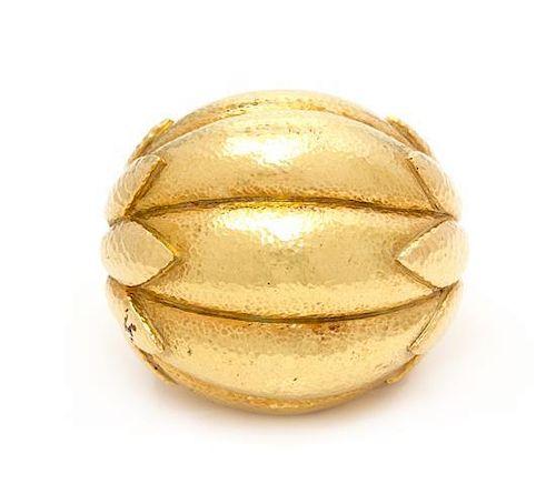 An 18 Karat Yellow Gold Bombe' Ring, David Webb, 20.30 dwts.