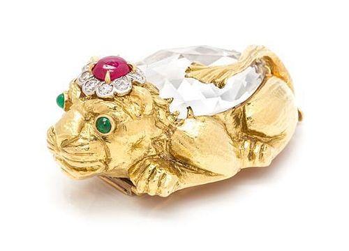 An 18 Karat Yellow Gold, Platinum, Rock Crystal, Diamond, Ruby and Emerald Lion Brooch, David Webb, 38.00 dwts.