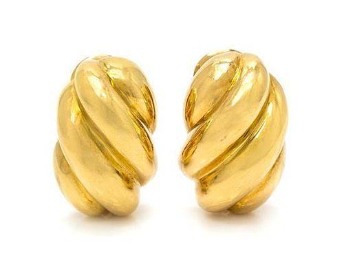 A Pair of 18 Karat Yellow Gold Earclips, David Webb, 13.00 dwts.