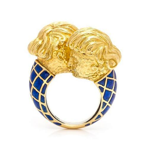 An 18 Karat Yellow Gold and Enamel Crossover Ring, David Webb, 18.10 dwts.