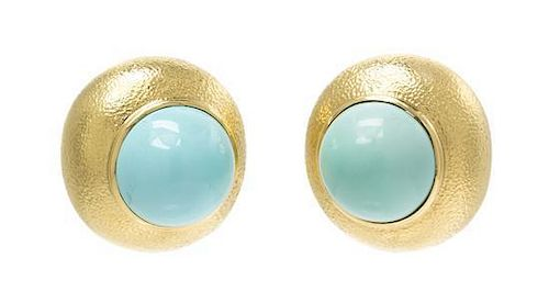 A Pair of 18 Karat Yellow Gold and Turquoise Earclips, David Webb, 32.60 dwts.
