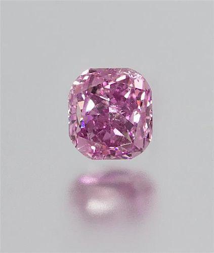 A 0.81 Carat Cushion Cut Fancy Deep Pink Purple Diamond,