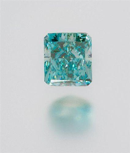 A 0.29 Carat Radiant Fancy Vivid Blue Green Diamond,