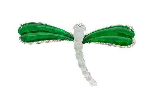 An 18 Karat White Gold, Jadeite and Diamond Dragonfly Pendant/Brooch, 9.00 dwts.
