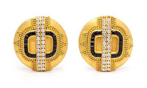 * A Pair of High Karat Yellow Gold, Diamond and Sapphire Earclips, Hilat, 15.35 dwts.