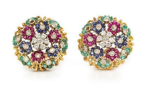 * A Pair of Bicolor Gold, Diamond and Multigem En Tremblant Earclips, 10.50 dwts.