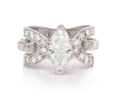 A White Gold and Diamond Ring, 4.90 dwts.