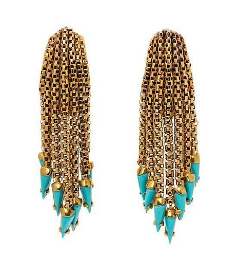 A Pair of 18 Karat Yellow Gold and Turquoise Tassel Earclips, Italian, 11.40 dwts.