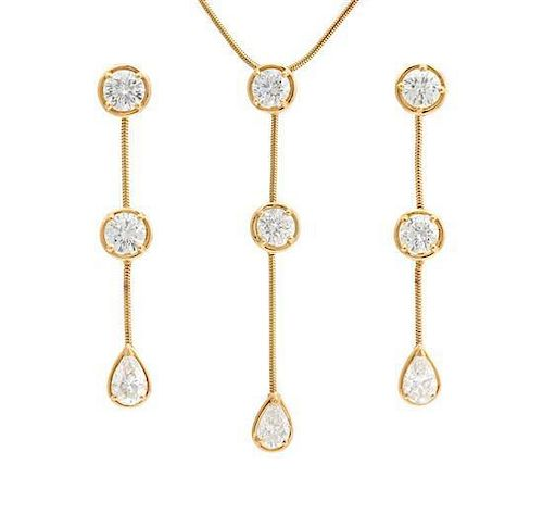 """An 18 Karat Yellow Gold and Diamond """"Pluie"""" Demi Parure, Van Cleef and Arpels, 11.90 dwts."""