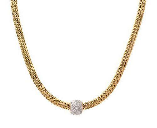 An 18 Karat Bicolor Gold Wheat Chain and Diamond Slide Pendant, John Hardy, 58.60 dwts.