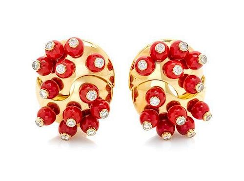A Pair of 18 Karat Yellow Gold, Coral and Diamond Earclips, Aletto Brothers, 22.00 dwts.