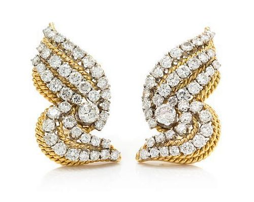 A Pair of Yellow Gold and Diamond Earclips, Balogh, 14.50 dwts.