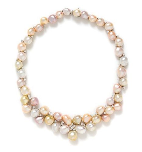 * An 18 Karat White Gold, Multicolor Cultured Pearl and Diamond Necklace, 76.75 dwts.