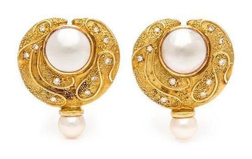 A Pair of 18 Karat Yellow Gold, Mabe Pearl, Cultured Pearl and Diamond Earclips, Elizabeth Gage, 18.20 dwts.