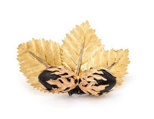A Tricolor Gold Brooch, Buccellati, 18.90 dwts.