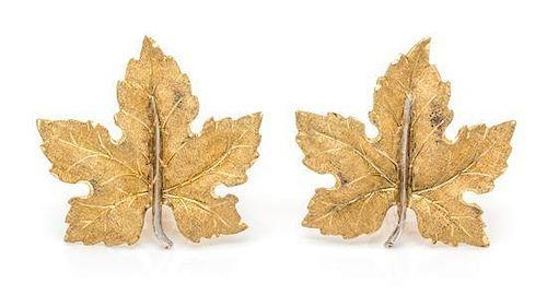 A Pair of 18 Karat Bicolor Gold Leaf Motif Earclips, M. Buccellati, 10.50 dwts.